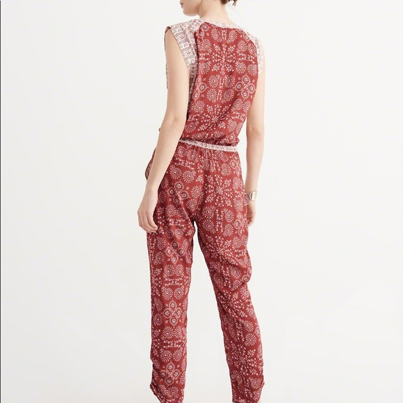 e2682342f5b7 Abercrombie   Fitch Pants - Abercrombie   Fitch red patterned jumpsuit